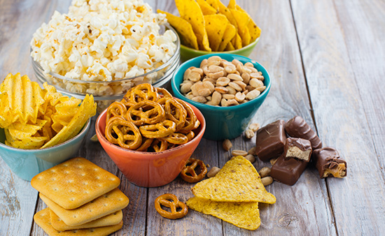 importance of health bowls of unhealthy snack food