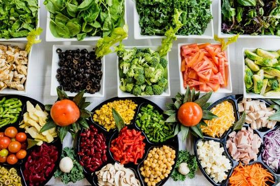 platters of vegetables