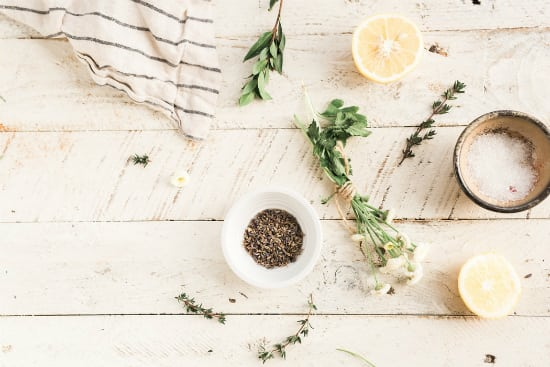 table with seasoning and herbs