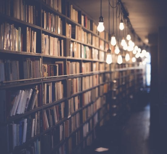 book shelves in the library
