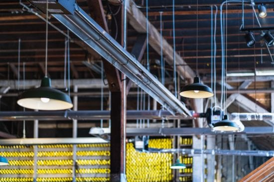 lighted lamps in the warehouse